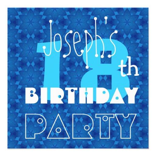 Custom Name Modern Teen's 18th Birthday Blue Custom Invitation