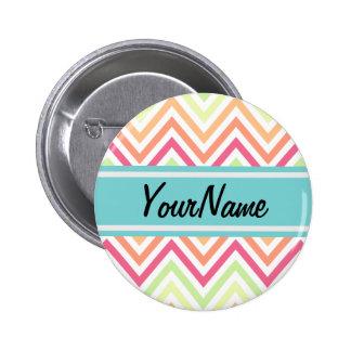 Custom Name Modern Trendy Chevron Pattern Gifts 6 Cm Round Badge