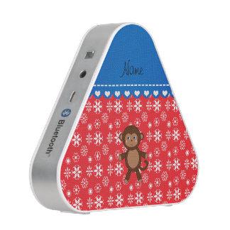Custom name monkey red snowflakes blue stripe speaker