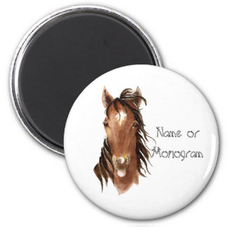 Custom Name Monogram Horse with Attitude 6 Cm Round Magnet