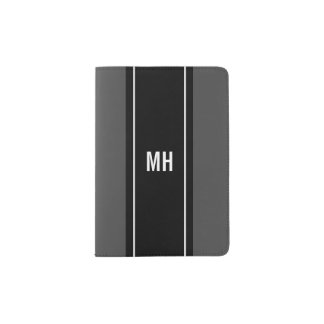 Custom name monogram modern striped passport cover