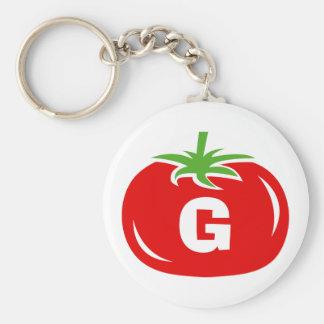 Custom name monogram red tomato keychains