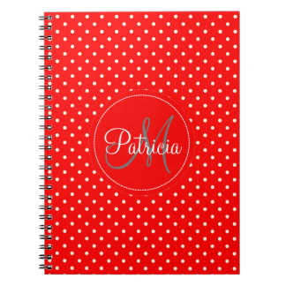 Custom Name Monogram.Red, White Polka Dots Notebooks