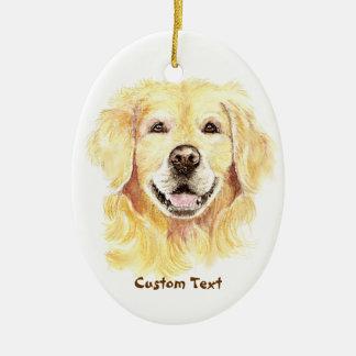 Custom Name, Monogram Text Golden Retriever Dog Ceramic Oval Decoration