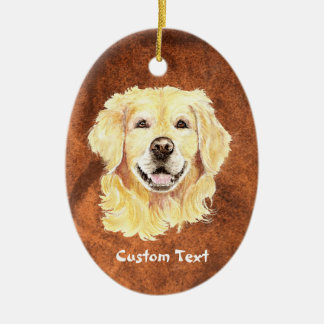 Custom Name, Monogram Text Golden Retriever Dog Christmas Ornament