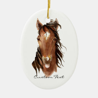 Custom Name, Monogram, Text Watercolor Horse Christmas Ornament