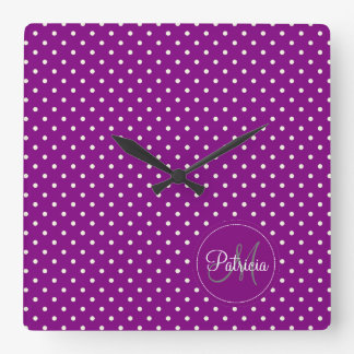 Custom Name Monogram.Violet, White Polka Dots Clocks