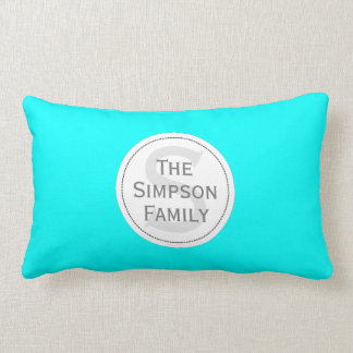 Custom Name Monogrammed.Cyan Light Blue & Whit Lumbar Pillow