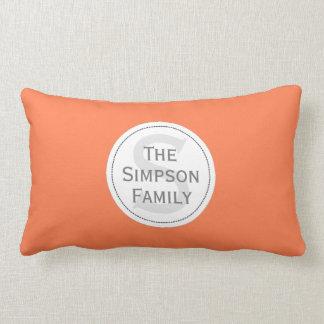 Custom Name Monogrammed.Peaches Orange & White Pillow