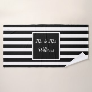 Custom Name Mr. and Mrs. Bath Towel Set