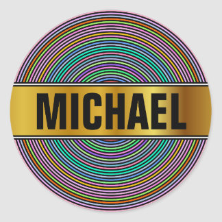 Custom Name + Multicolored Circles/Rings Pattern Classic Round Sticker
