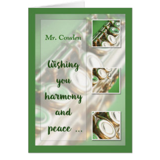 Custom Name, Music Teacher, Christmas, Flute, Band Greeting Card