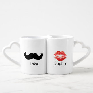 Custom name Mustache and Lips mug pair