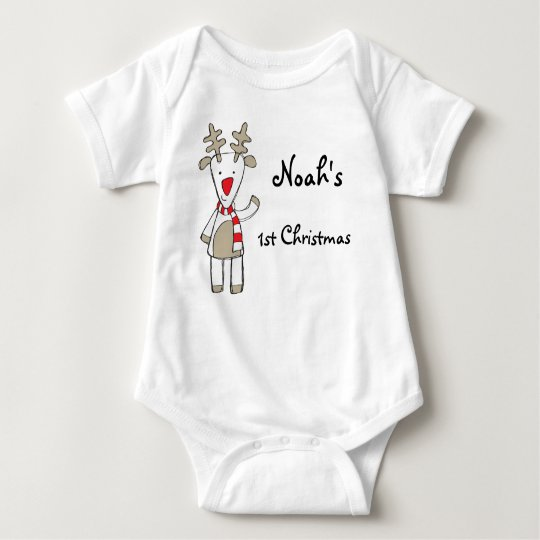 Custom name/my 1st Christmas the reindeer Baby Bodysuit