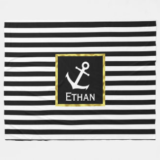 Custom Name Nautical Black and White Anchor Fleece Blanket