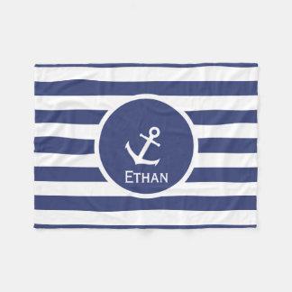 Custom Name Nautical Fleece Blanket