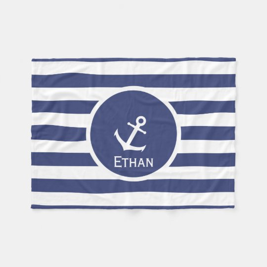 Custom Name Nautical Fleece Blanket