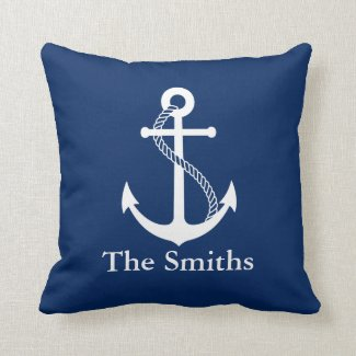 Custom Name Nautical Navy Blue with White Anchor Cushion