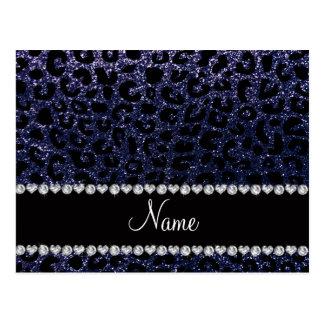 Custom name navy blue glitter cheetah print post card