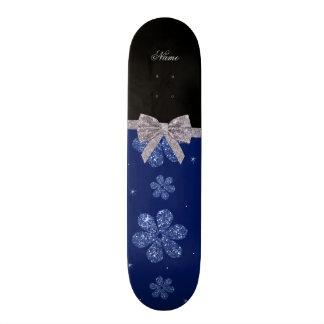 Custom name navy blue glitter flowers silver bow skate board deck