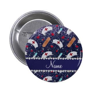 Custom name navy blue glitter nurse hats heart 6 cm round badge