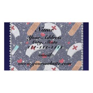 Custom name navy blue glitter nurse hats heart pack of standard business cards
