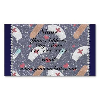Custom name navy blue glitter nurse hats heart magnetic business cards