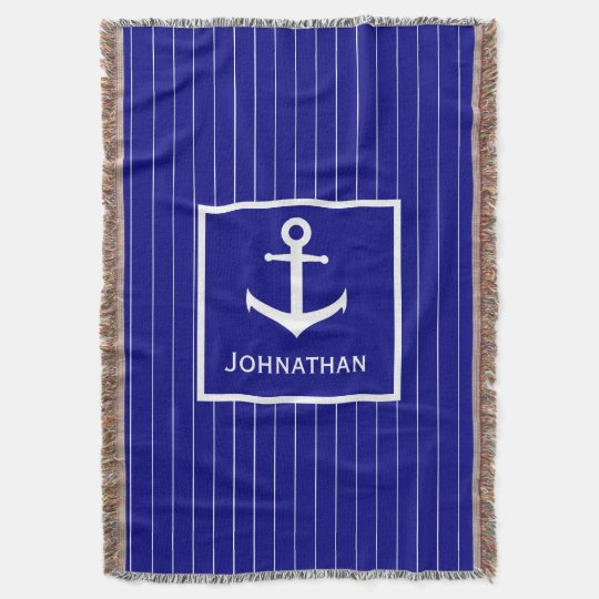 Custom Name Navy Blue Nautical Throw Blanket