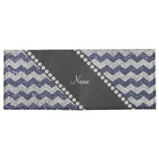 Custom name navy blue silver glitter chevrons tyvek wallet