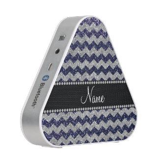 Custom name navy blue silver glitter chevrons speaker