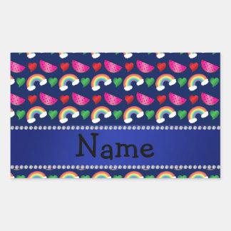 Custom name navy blue watermelons rainbows hearts rectangular sticker