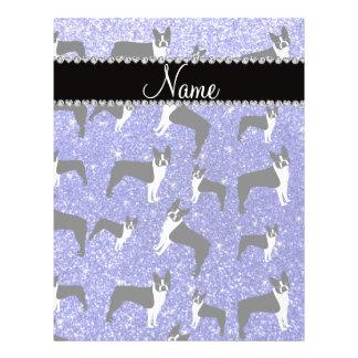 Custom name neon blue glitter boston terrier 21.5 cm x 28 cm flyer