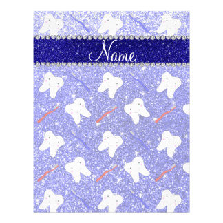 "Custom name neon blue glitter brushes tooth 8.5"" x 11"" flyer"