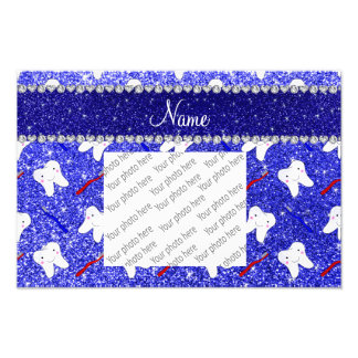 Custom name neon blue glitter brushes tooth photograph