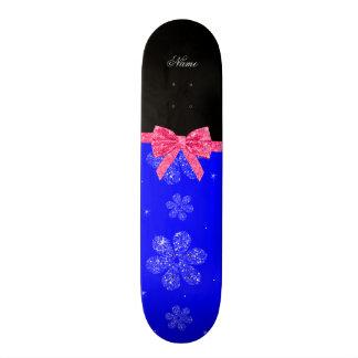 Custom name neon blue glitter flowers pink bow 20.6 cm skateboard deck