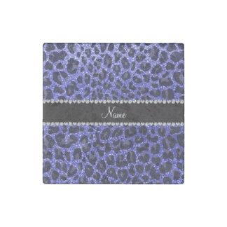 Custom name neon blue glitter leopard print stone magnet