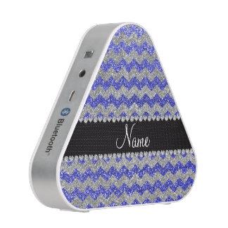 Custom name neon blue silver glitter chevrons speaker