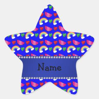 Custom name neon blue watermelons rainbows hearts star sticker