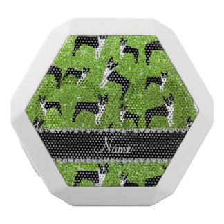 Custom name neon green glitter boston terrier white boombot rex bluetooth speaker