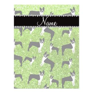Custom name neon green glitter boston terrier custom flyer