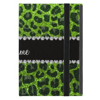 Custom name neon green glitter leopard print case for iPad mini