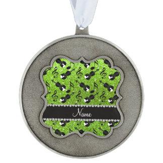 Custom name neon green glitter violins music notes scalloped ornament