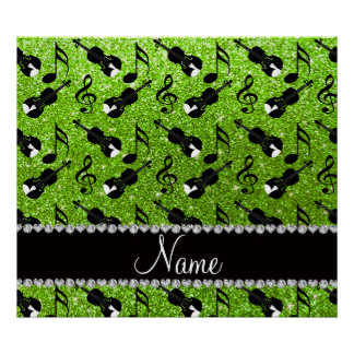 Custom name neon green glitter violins music notes poster