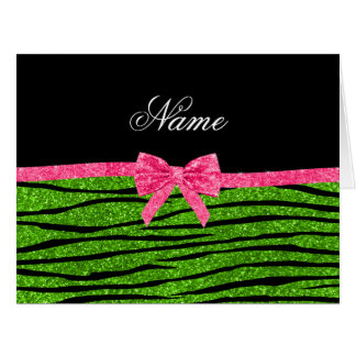 Custom name neon green glitter zebra stripes bow card