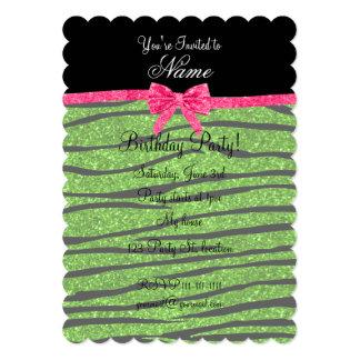 Custom name neon green glitter zebra stripes bow 5x7 paper invitation card