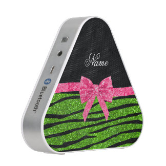 Custom name neon green glitter zebra stripes bow speaker