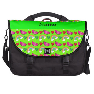 Custom name neon green watermelons rainbows hearts laptop commuter bag