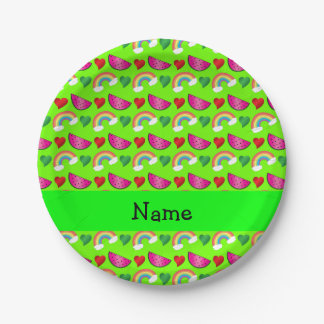 Custom name neon green watermelons rainbows hearts paper plate