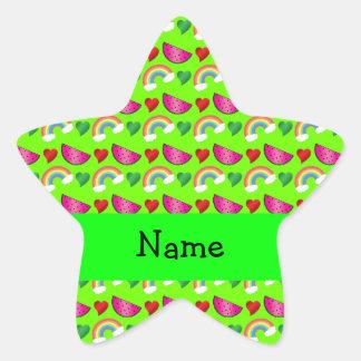 Custom name neon green watermelons rainbows hearts star sticker