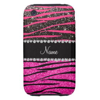 Custom name neon hot pink and black zebra stripes tough iPhone 3 covers